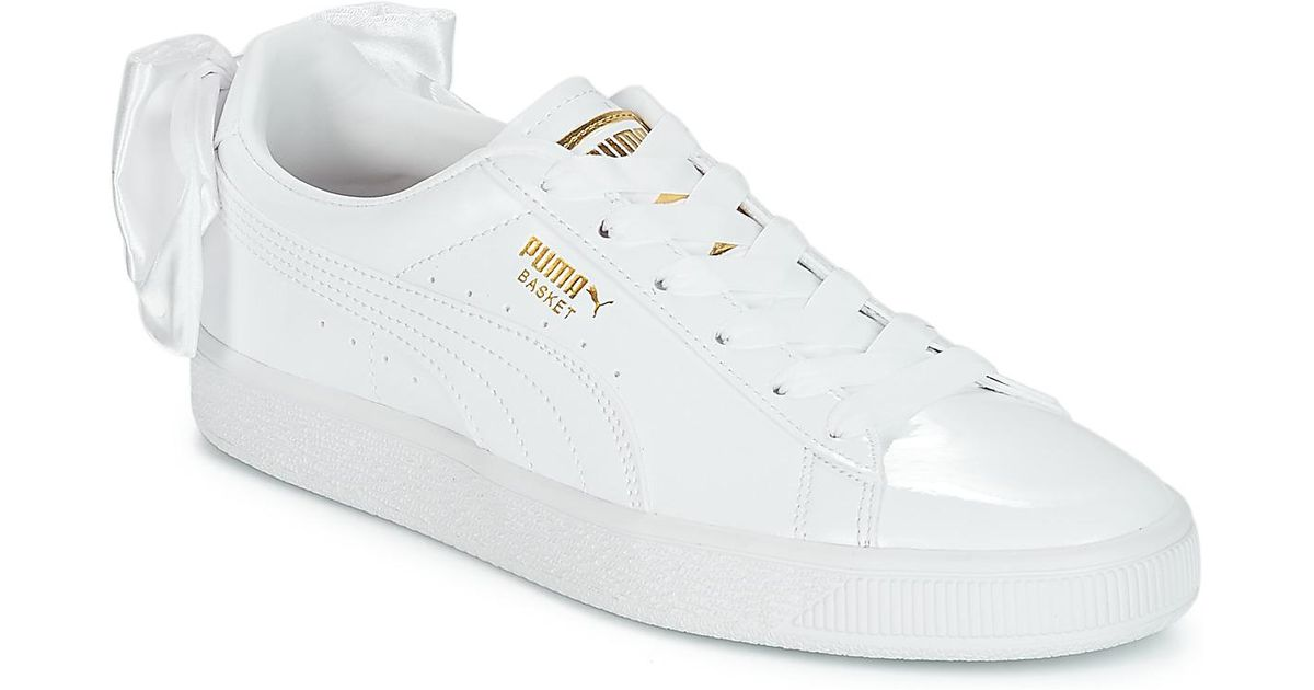344e4ed1a25 PUMA Wn Suede Bow Patent.white Women s Shoes (trainers) In White in White -  Lyst