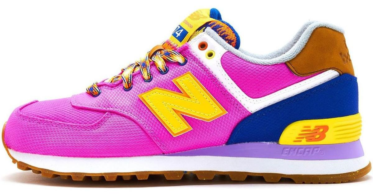 hot sale online 3914b 45b15 New Balance 574 Suede Retro Women Trainers In Pink Yellow Wl574 Exb Women's  Shoes (trainers) In Pink
