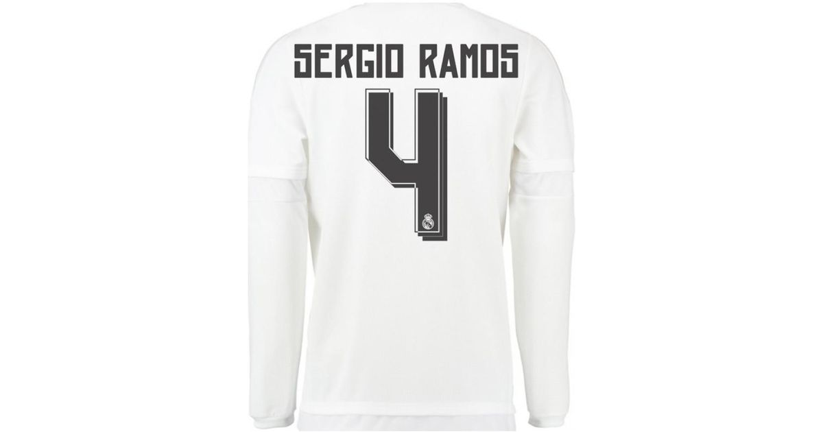 newest collection 084d8 35c28 Adidas 2015-16 Real Madrid Long Sleeve Home Shirt (sergio Ramos 4) - Ki  Girls's In White for men
