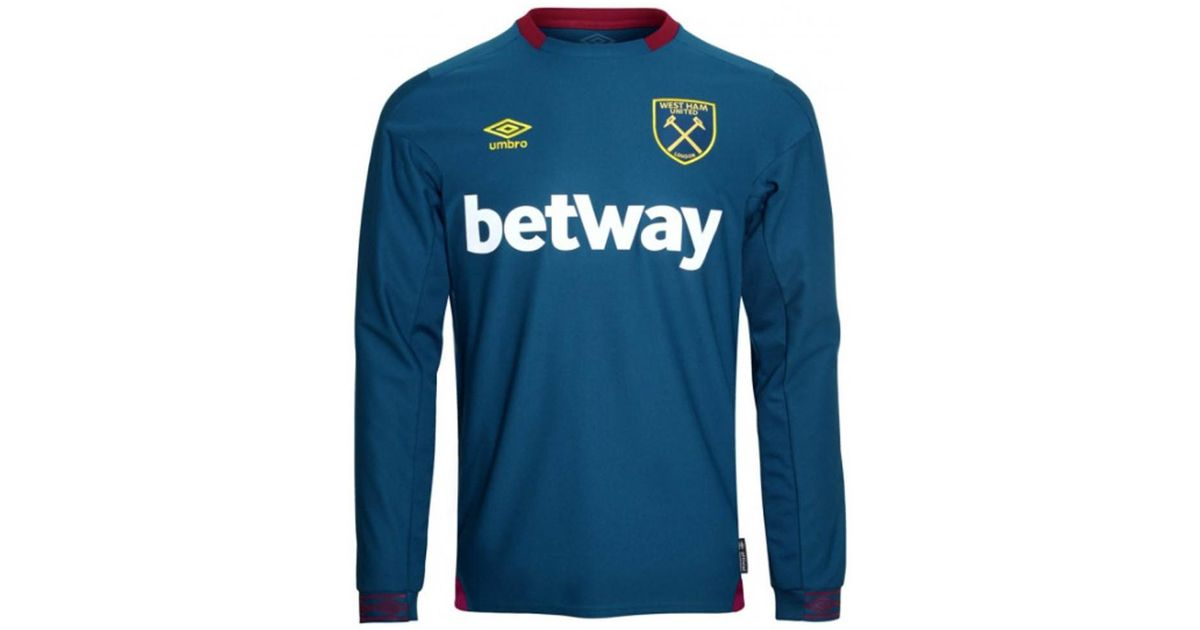 wholesale dealer a8990 51623 Umbro 2018-2019 West Ham Long Sleeve Away Football Shirt Men's In Blue for  men