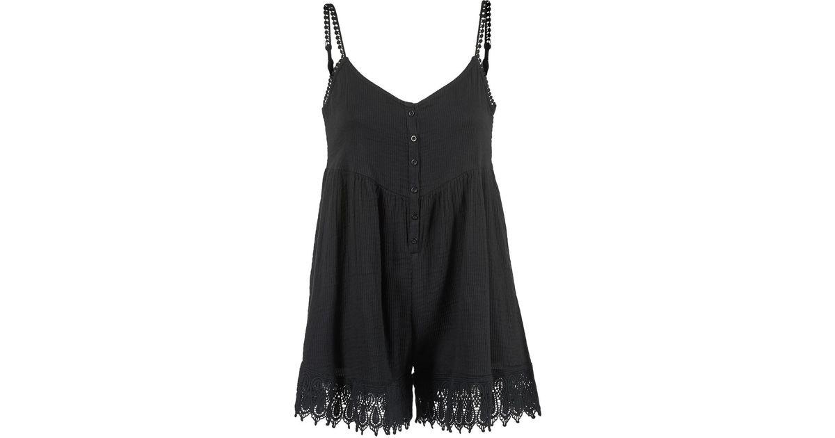 54dab97743e0 Volcom Pinned Rumper Women s Jumpsuit In Black in Black - Lyst