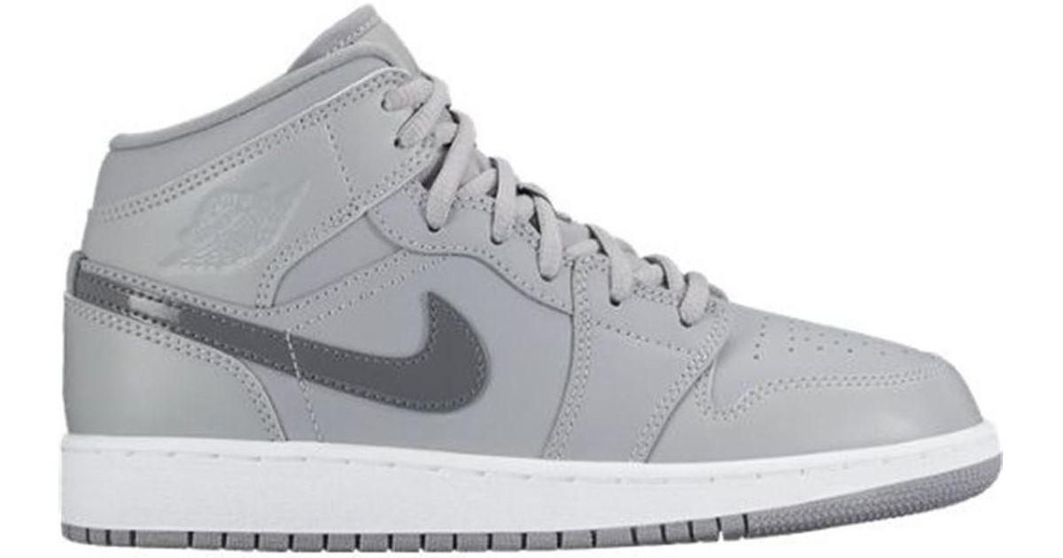 best website bb740 492c4 Nike Metallic Air Jordan 1 Mid Bg Women's Shoes (high-top Trainers) In  Silver