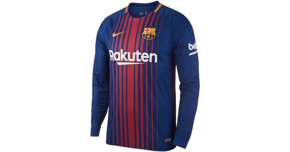 newest 87625 7dfb7 Nike 2017-2018 Barcelona Home Long Sleeve Shirt Women's In Red for men