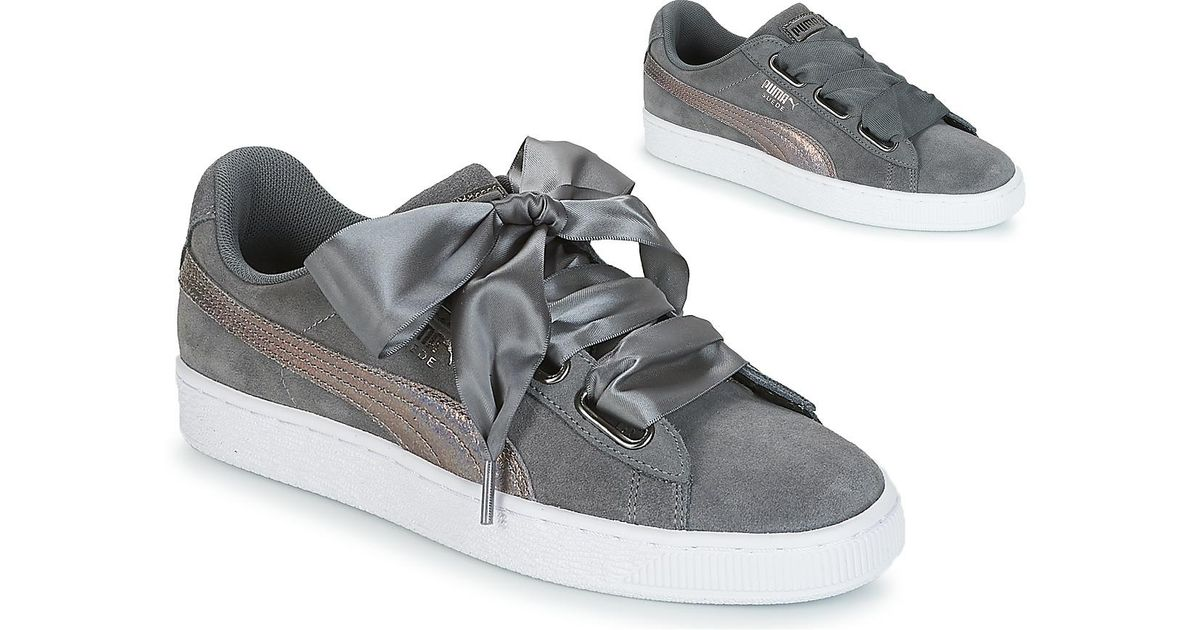new product 7774c 25275 PUMA Gray Suede Heart Lunalux Wn's Smoked Pearl