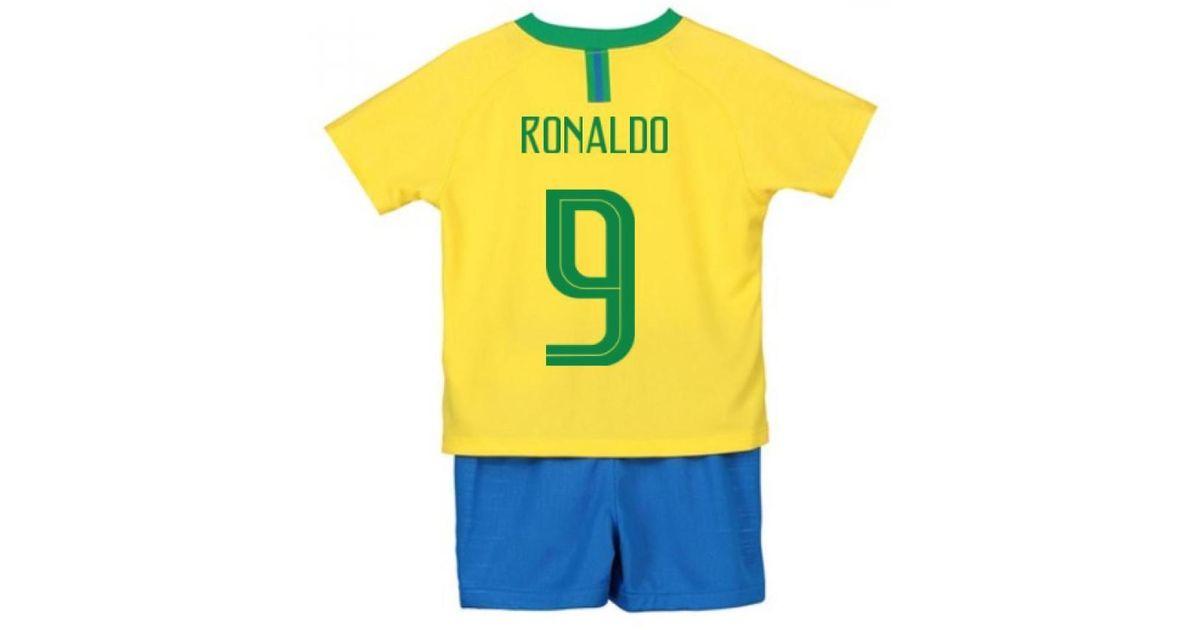 new product 387f5 a8df8 Nike 2018-2019 Brazil Home Little Boys Mini Kit (ronaldo 9) Men's T Shirt  In Yellow for men