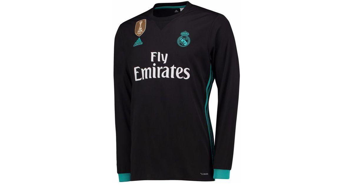newest 5eed7 558f4 Adidas 2017-18 Real Madrid Away Long Sleeve Shirt (sergio Ramos 4) Women's  In Black
