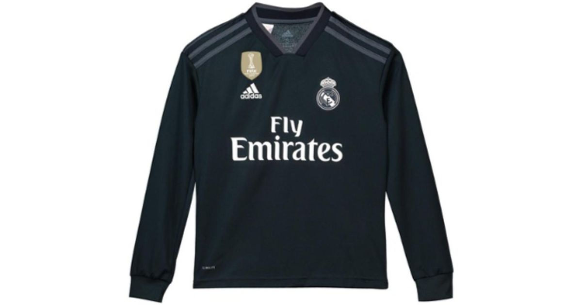 new product c6d52 e318d Adidas 2018-2019 Real Madrid Away Long Sleeve Shirt (kids) Men's In Black  for men