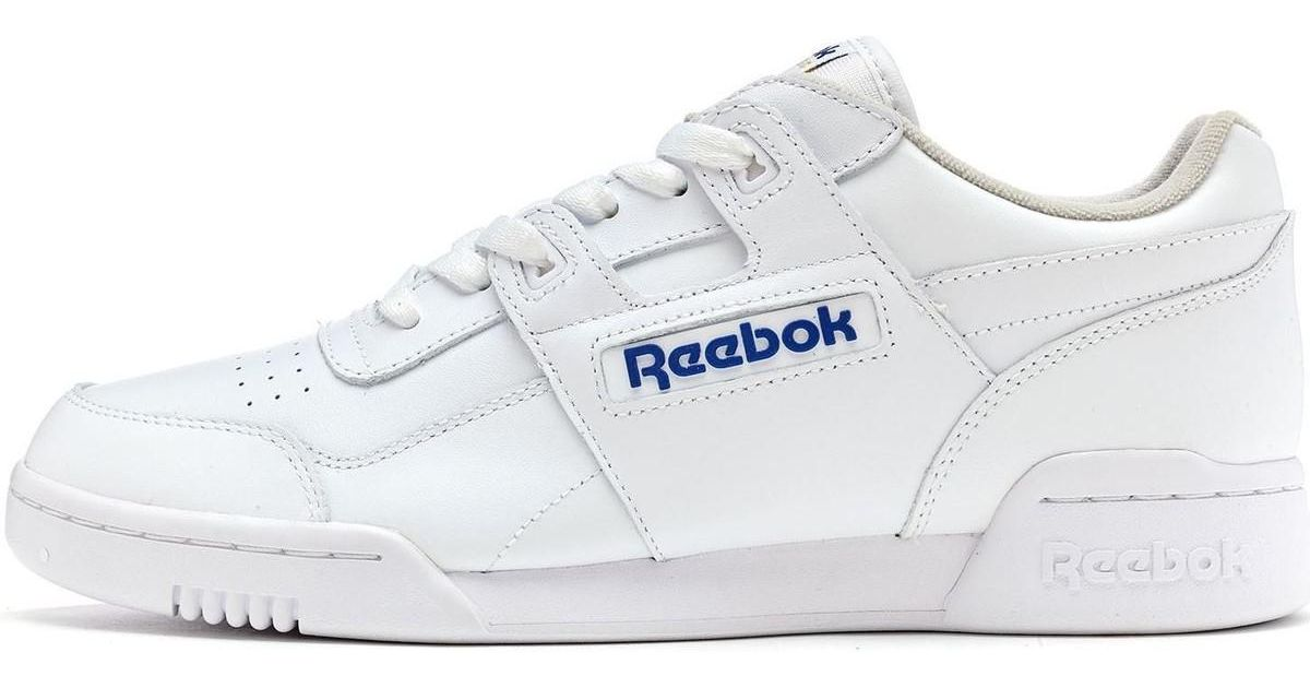 1ce7553da4c Reebok Classics Workout Plus Trainers In White Royal Blue 2759 Men s Shoes  (trainers) In White in White for Men - Lyst
