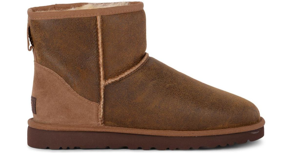 df01ca15339 Ugg Classic Mini Bomber Brown Sheepskin And Suede Ankle Boots Men's Snow  Boots In Brown for men