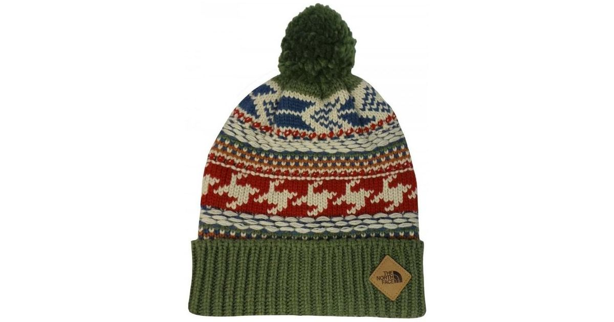 The North Face Fair Isle Beanie Hat In Green red in Green for Men - Lyst c79225c1d7c