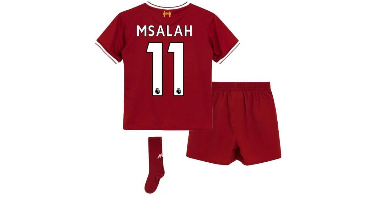 newest fdce4 6580d New Balance 2017-18 Liverpool Home Mini Kit (m Salah 11) Girls's In Red