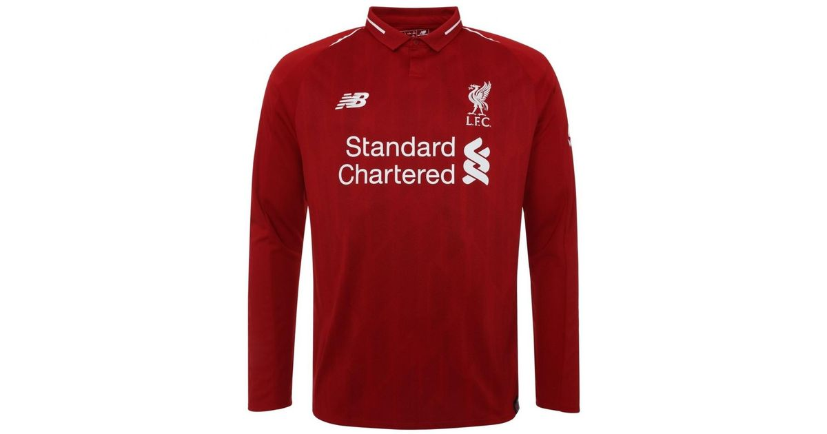 buy popular 7c32d d5f00 New Balance 2018-2019 Liverpool Home Long Sleeve Shirt (kids) Men's Polo  Shirt In Red for men