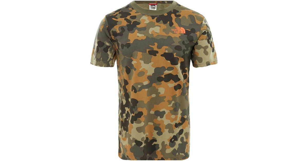 e51dd03d1 The North Face Red Box T-shirt Macrofleck Camo Print Men's T Shirt In Green  for men