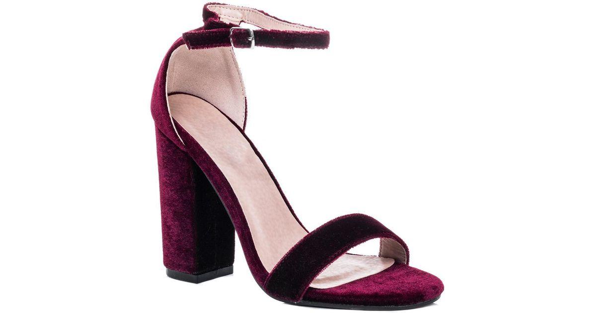 bf39263d08c67 Spylovebuy Sass Open Peep Toe Block Heel Sandals Shoes - Burgundy Velvet S  Women's Sandals In Red