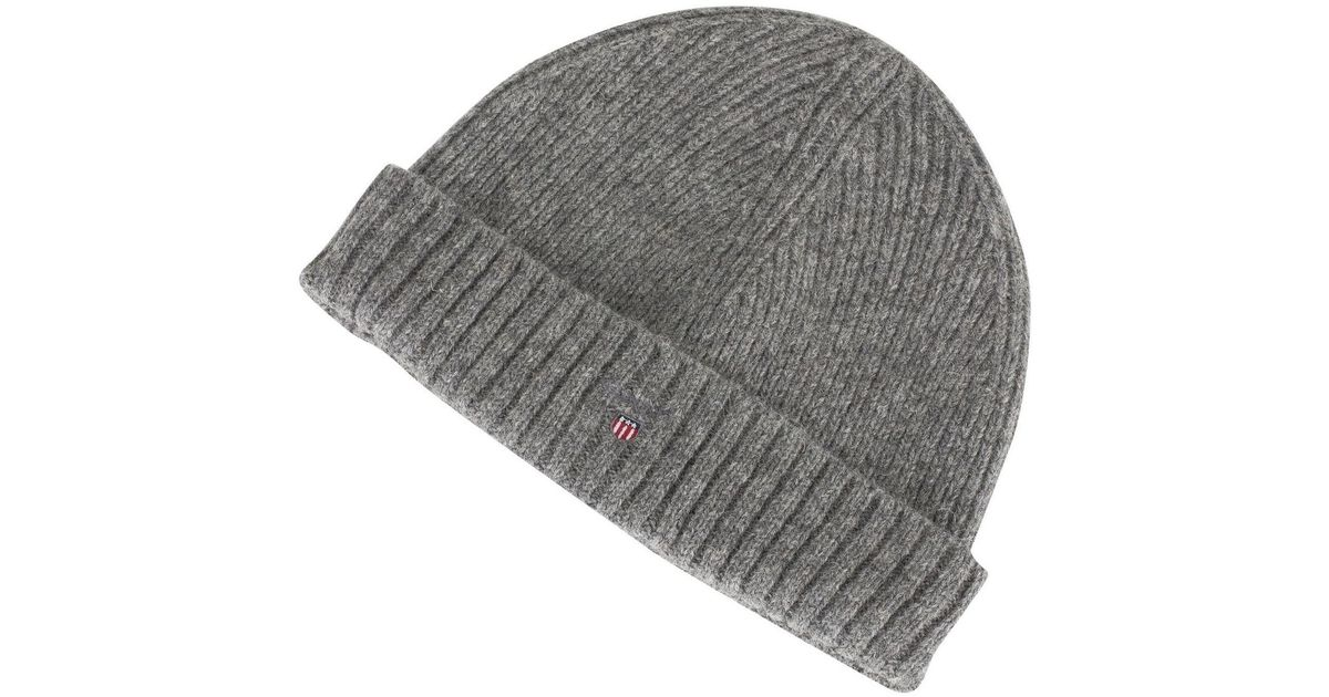 aa0b3d38 GANT Wool Lined Beanie in Gray for Men - Save 40% - Lyst