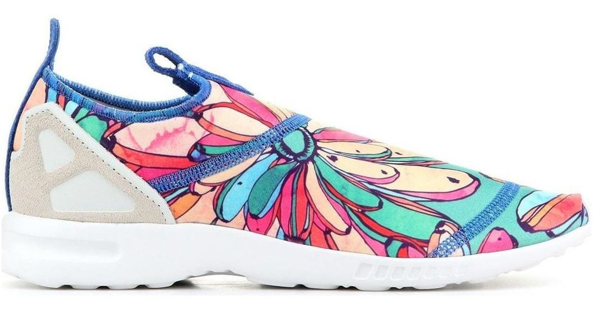 info for 56a13 85ef9 Adidas Blue Zx Flux Adv On S75686 Women's Shoes (trainers) In Multicolour