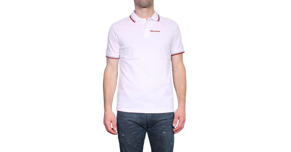 a7aa5197 Prada - Slim Fit Men's Polo Sjj887 Men's Polo Shirt In White in White for  Men - Lyst