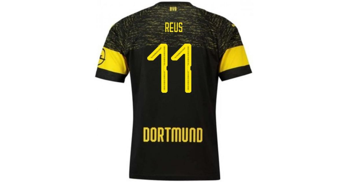 size 40 b0d05 b9d41 PUMA 2018-2019 Borussia Dortmund Away Football Shirt (reus 11) Men's T  Shirt In Black for men