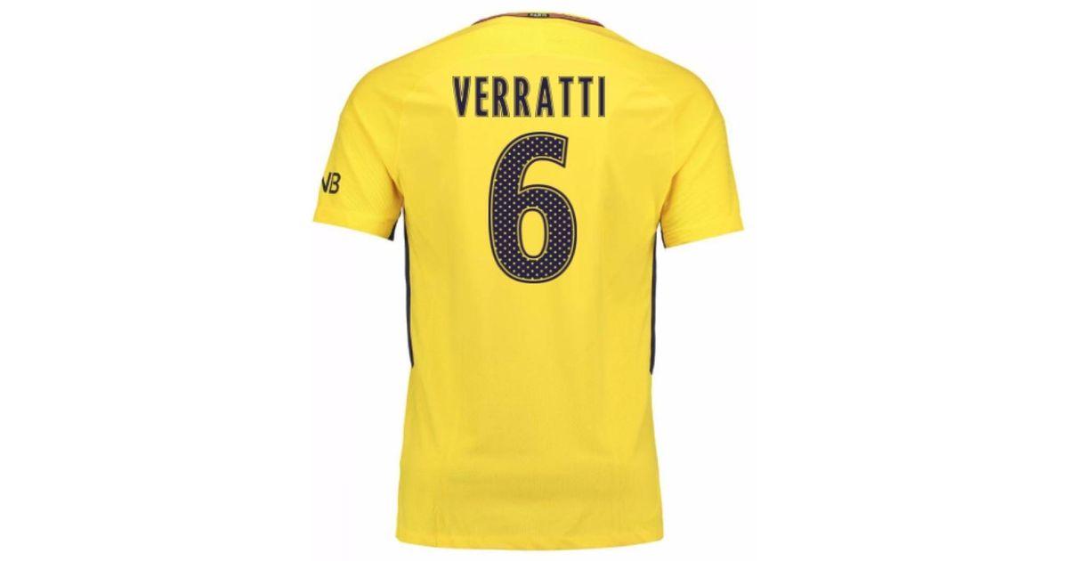 outlet store 21325 548bd Nike 2017-18 Psg Away Shirt (verratti 6) Men's T Shirt In Yellow for men