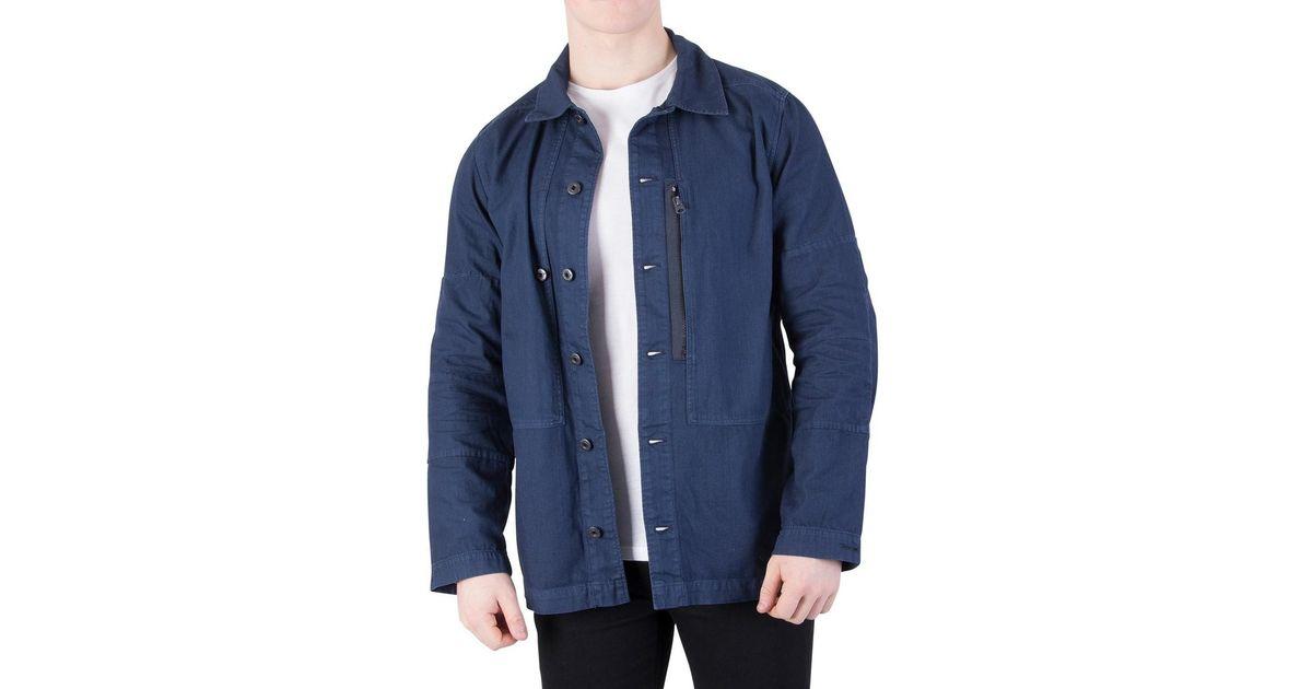 good texture distinctive design exclusive deals G-Star RAW Men's Rackam Zip Overshirt, Blue Men's Jacket In Blue for men