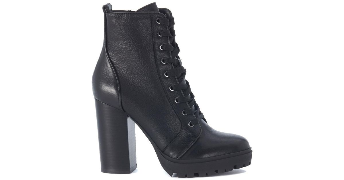 321b0f56c Steve Madden Laurie Black Leather Combat Boot Women's Low Ankle Boots In  Black in Black - Lyst