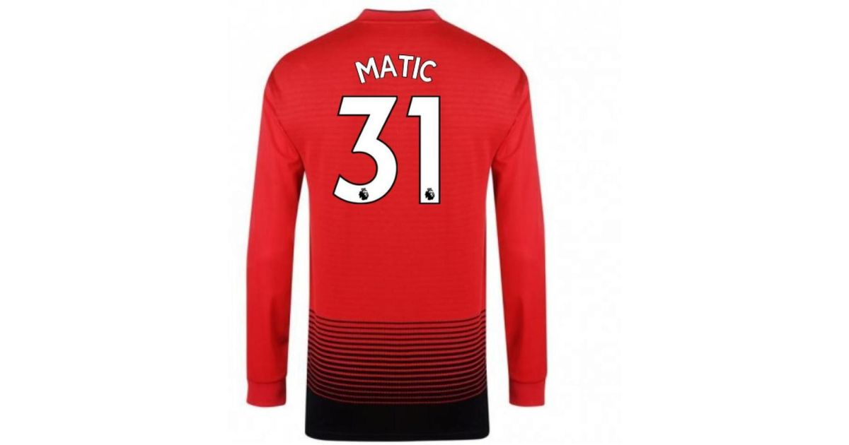 finest selection d53c8 f9ca6 Adidas 2018-2019 Man Utd Home Long Sleeve Shirt (matic 31) - Kids Men's In  Red for men