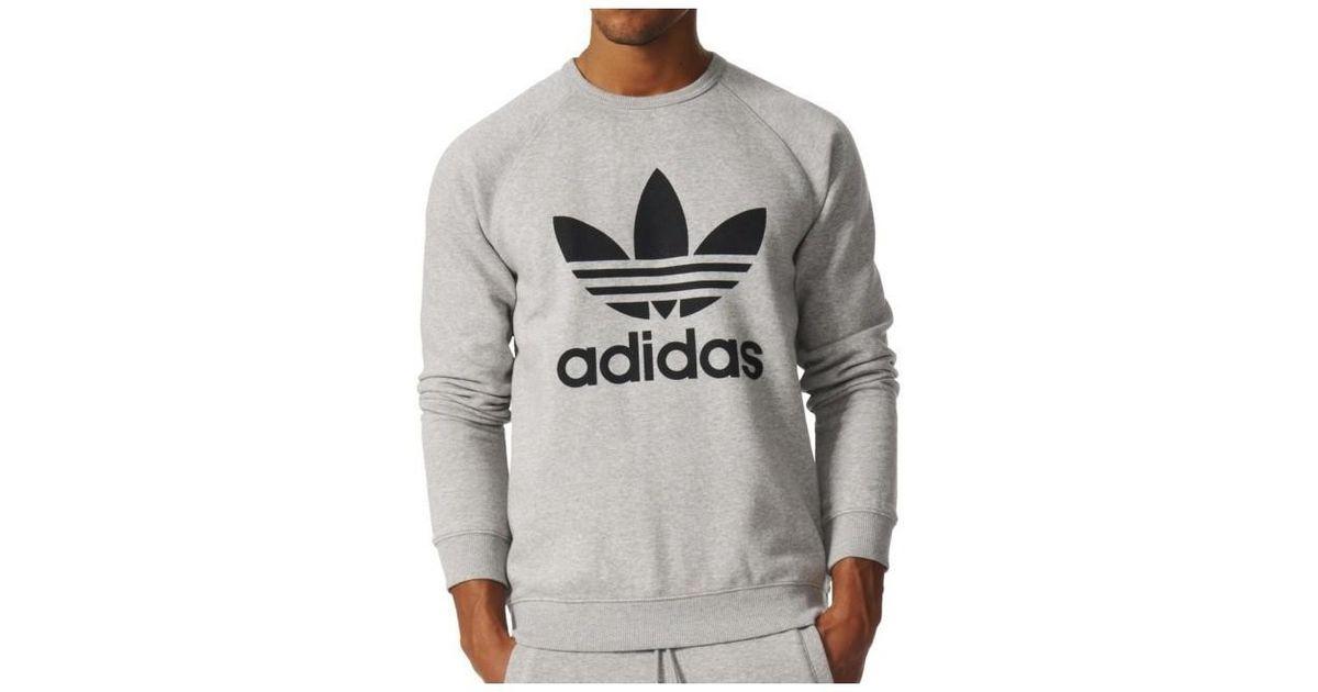 Adidas Gray Trefoil Fleece Crew Medium Grey Heatherblack Men's Sweatshirt In Grey for men