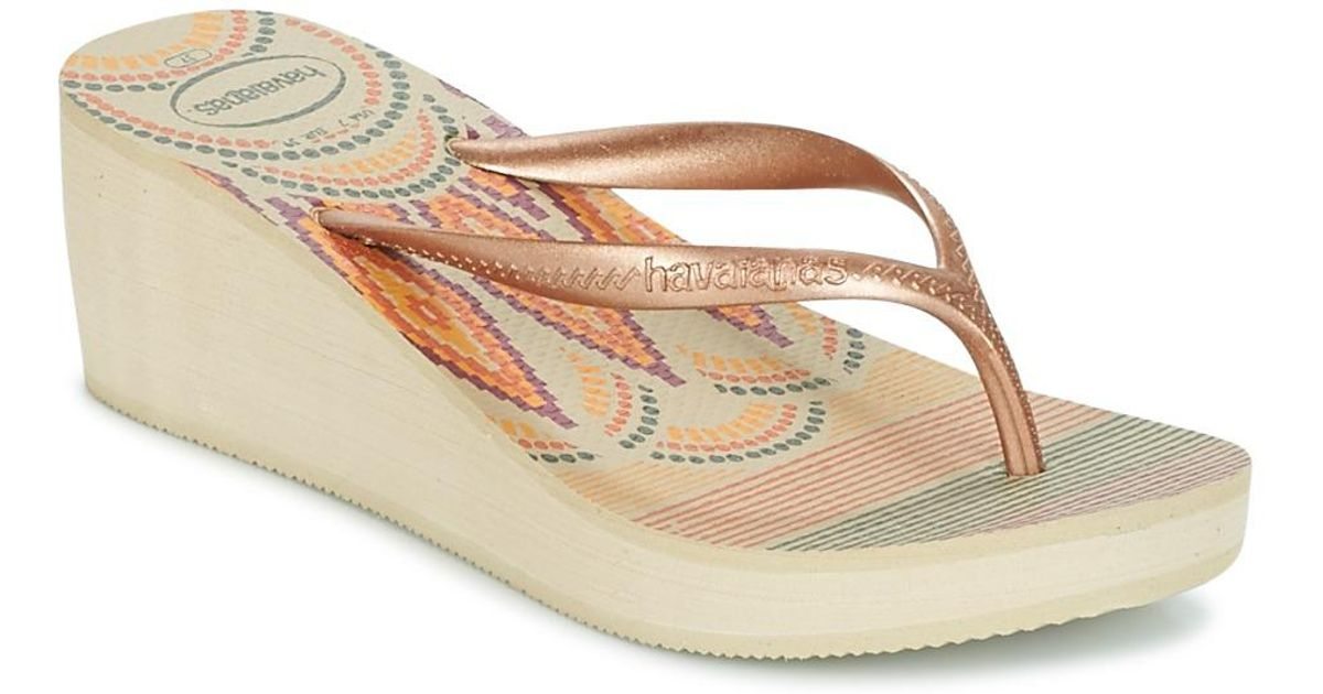 0ccc6f63c8e Havaianas High Fashion Print Women s Flip Flops   Sandals (shoes) In Beige  in Natural - Lyst