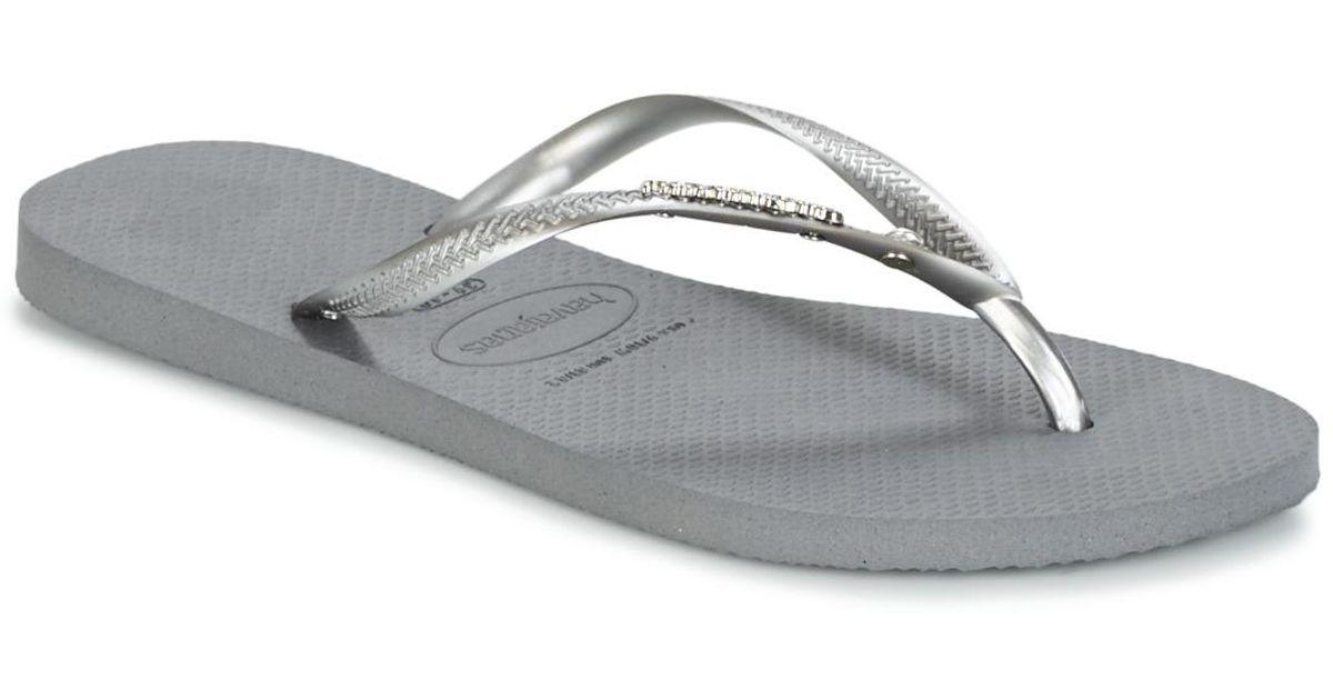9a4dbf0820b1b3 Havaianas Slim Metal Logo And Crystal Women s Flip Flops   Sandals (shoes)  In Silver in Metallic - Lyst