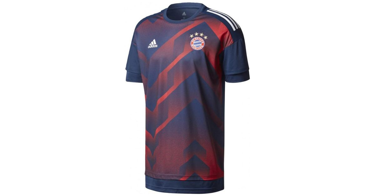 online store 1ff7b 762f1 Adidas 2017-2018 Bayern Munich Pre-match Training Shirt Men's T Shirt In  Blue for men