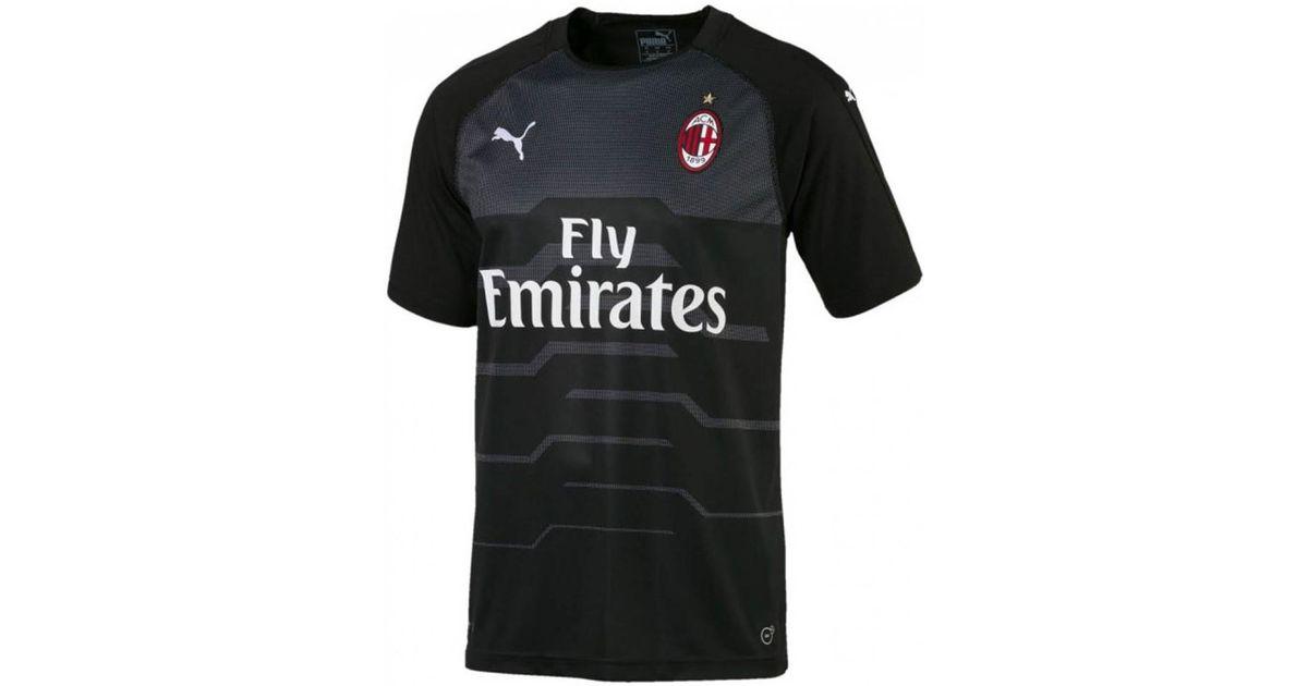 Yellow Puma 2018-2019 AC Milan Home SS Goalkeeper Football Soccer T-Shirt Camiseta