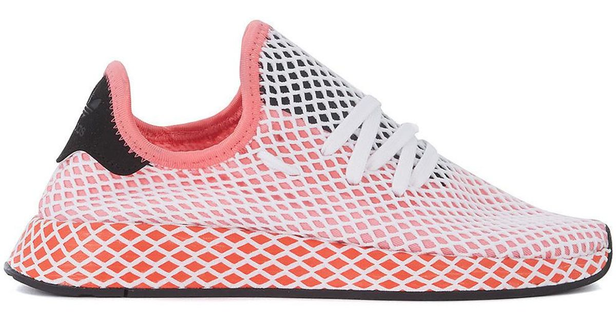 adidas Deerupt Pink White And Red Mesh