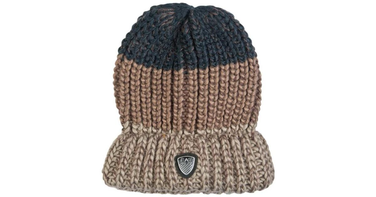 0cbfb98b0d7 Ea7 Ea7 By Emporio Armani Beanie Hat In Navy Blue Grey And Brown 27 Men s  Beanie In Brown in Brown for Men - Lyst