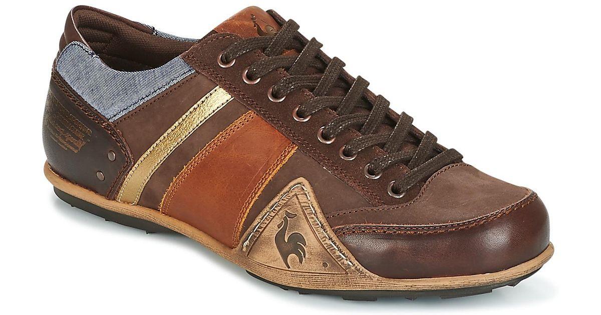 winkel exclusief assortiment voor het hele gezin Le Coq Sportif Brown Turin Leather/chambray Shoes (trainers) for men