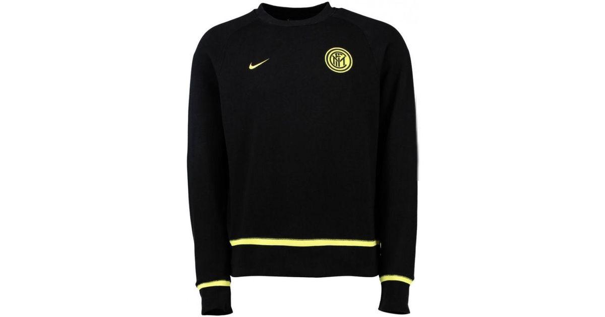 Nike 2015-2016 Inter Milan Aw77 Authentic Ls Crew Men s Sweatshirt In Black  in Black for Men - Lyst b0a881f3f