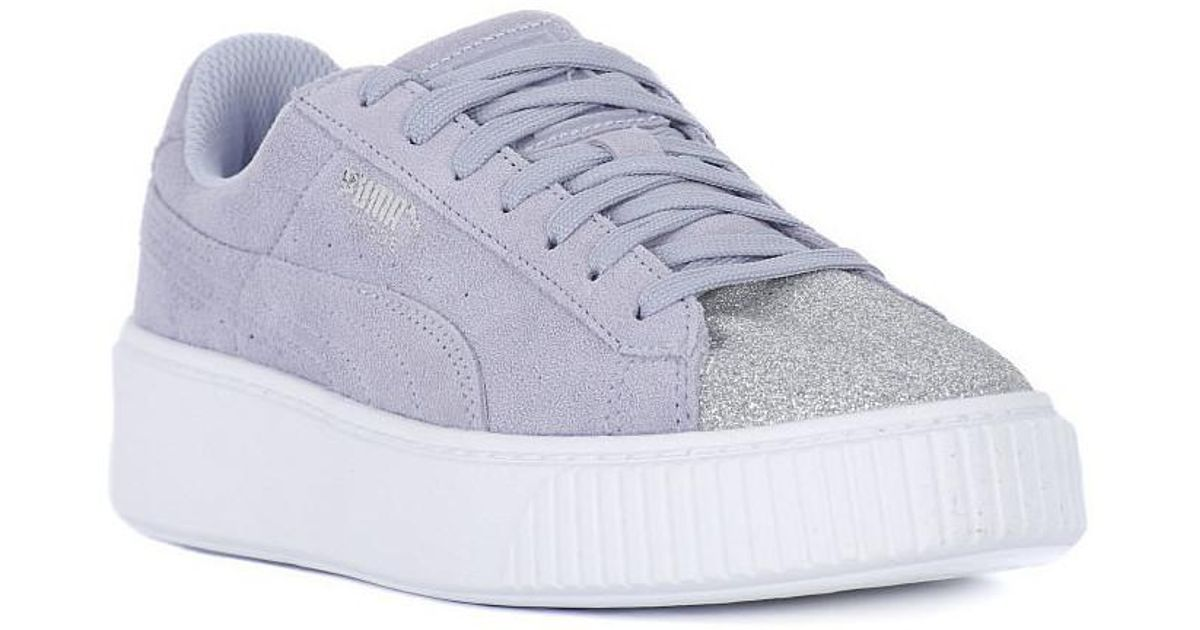 finest selection c3fcc 60cc6 PUMA - Gray Suede Platform Glam Jr Women's Shoes (trainers) In Grey - Lyst