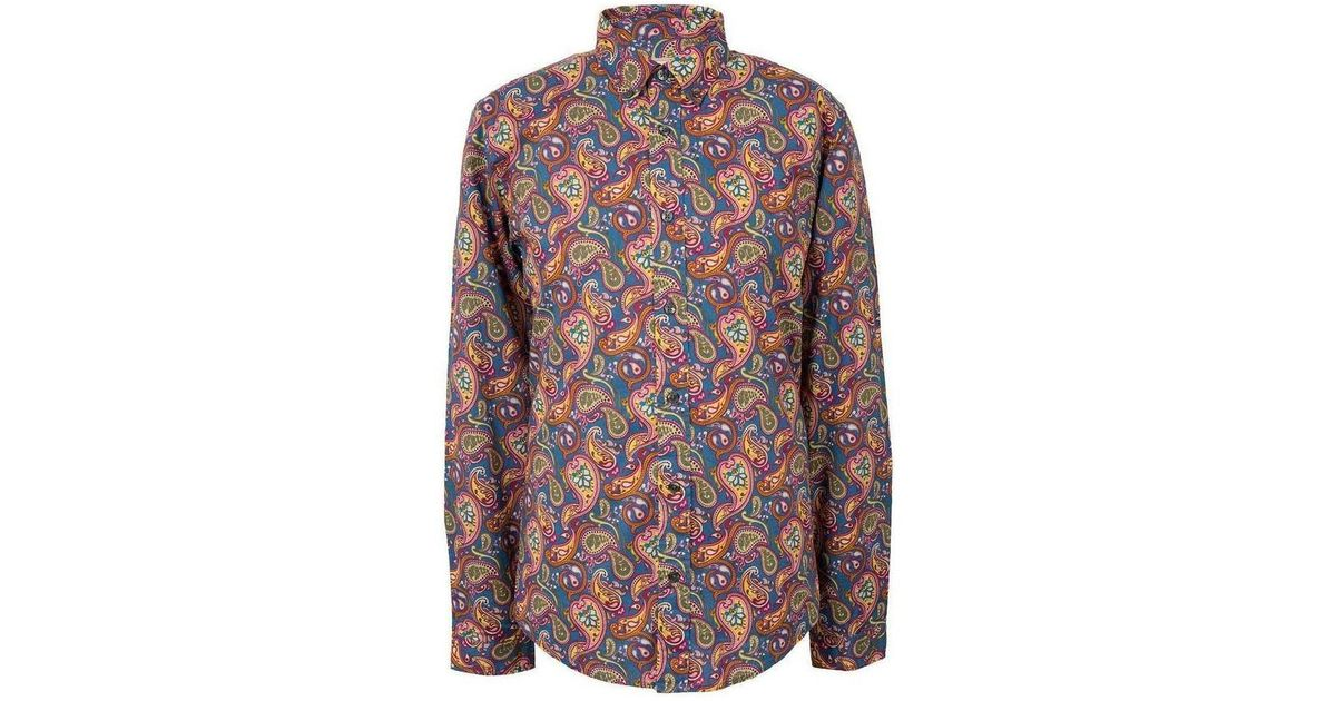 Pretty Green Mens Paisley Cotton Shirt Women s Long Sleeved Shirt In Red in  Red for Men - Lyst f1e446aaa