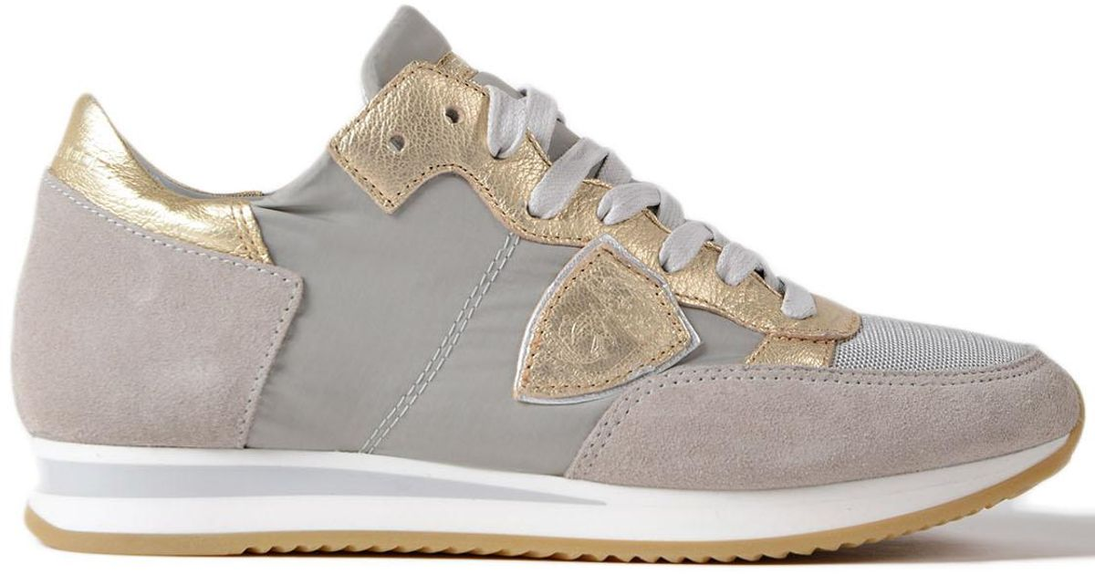 Clearance Collections Buy Cheap Pre Order Philippe model Tropez Mondial Beige And Gold Sneakers Outlet Original bzhPaS