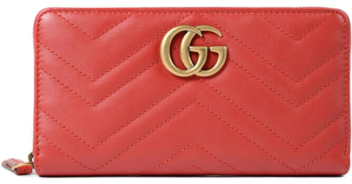 95b040cc3a3 Lyst - Gucci GG Marmont 2.0 Zip Around Wallet in Red