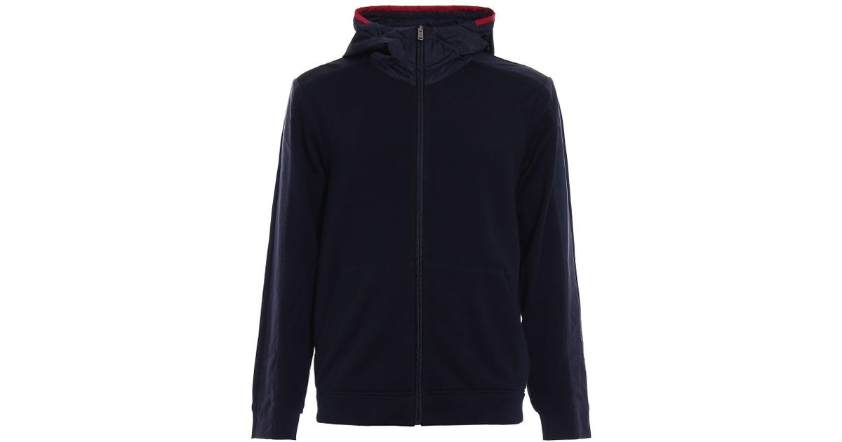 online retailer 06271 5225b Prada Blue Felpa Jersey Blouson Cap for men