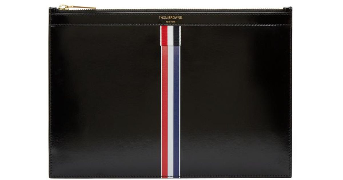 Thom Browne Zip Around Soft Document Wallet (28X37 Cm) In Tumbled Calf Leather Wholesale Price oAB0y8MZ