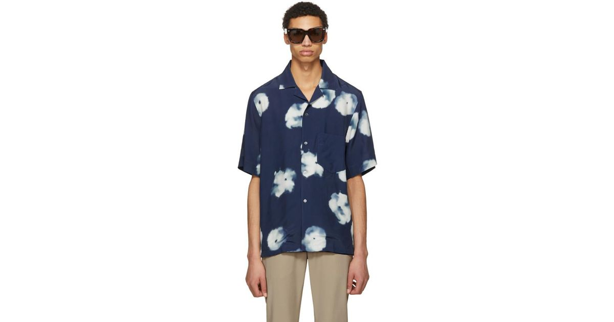 0b38594f9f Lyst - Acne Studios Indigo Elms Print Shirt in Blue for Men