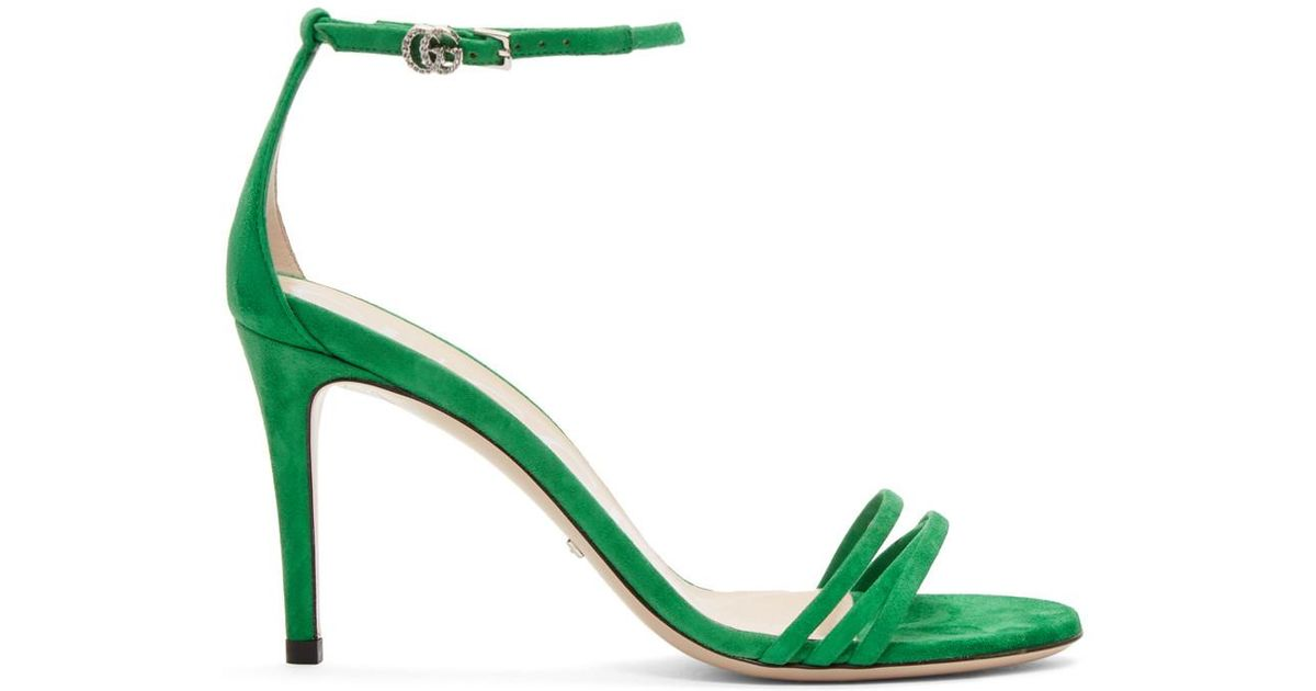 64e951ec87c8 Lyst - Gucci Green Suede Isle Heeled Sandals in Green