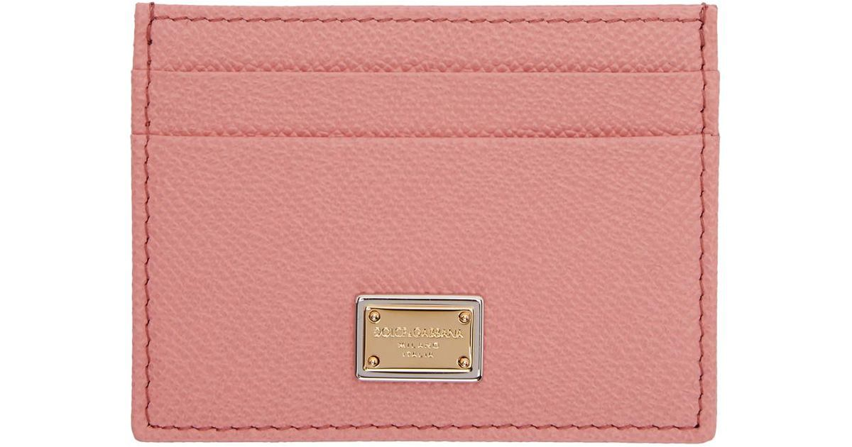 Pink Logo Plate Card Holder Dolce & Gabbana