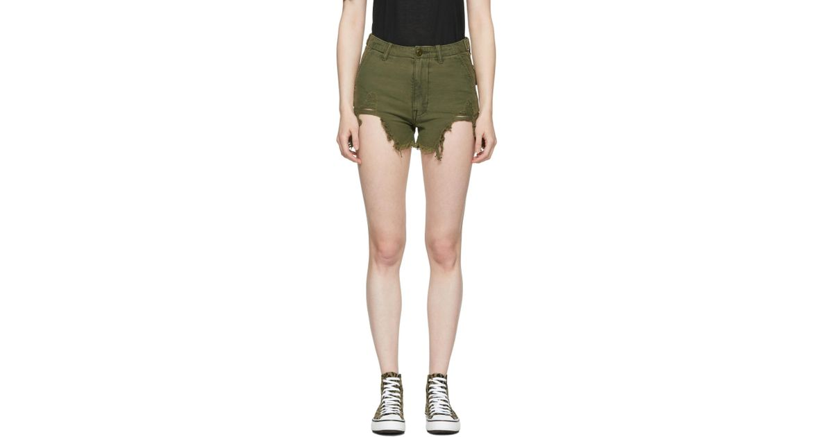 Affordable Cheap Online Distressed Camp Shorts in Green R13 Outlet Locations Cheap Price ulJbvckQu