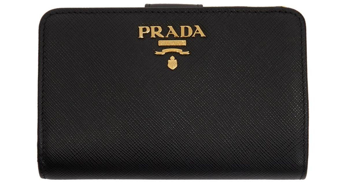 d3743ee63e09 ... sweden lyst prada black saffiano leather medium wallet in black db9db  39d51 ...