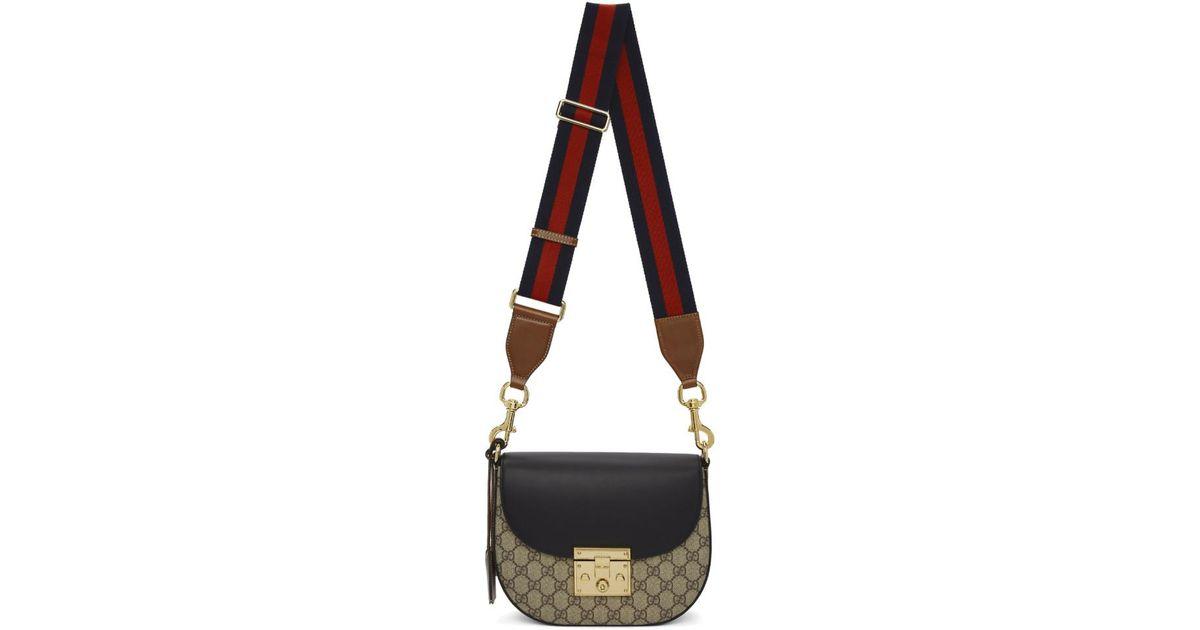 85d922938b8 Gucci Brown And Black Medium GG Supreme Padlock Bag in Brown - Lyst