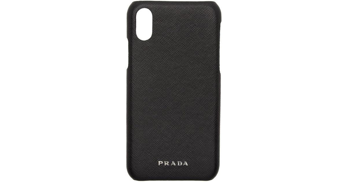 01117308 Prada Black Saffiano Iphone X Case for men