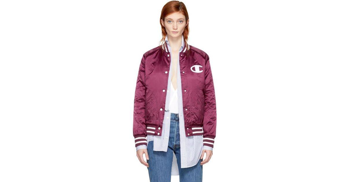8ca8342c1 Champion Purple Burgundy Nylon Logo Bomber Jacket