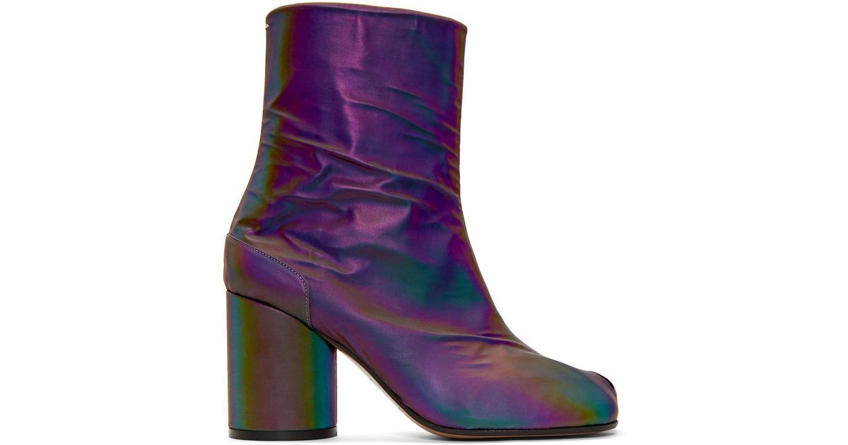 Leather Black Reflective Tabi Boots - Lyst